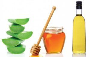 Оливковое масло, свежий сок алоэ и мед.