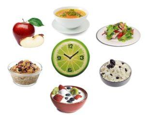 Важно принимать пищу регулярно и небольшими порциями